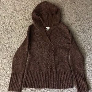 Maurices brown hooded cable sweater size small